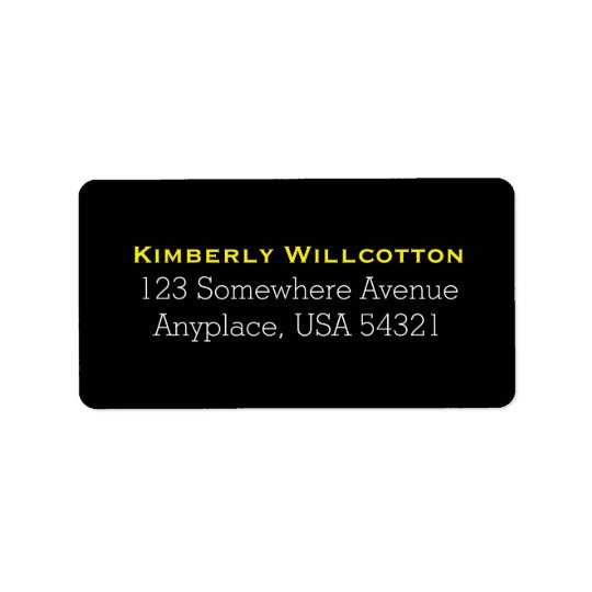 Black Yellow Simple Plain Address Labels