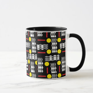 Black Yellow Squiggles Textile Abstract Coffee Mug
