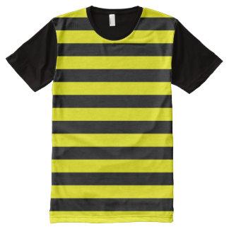 Black & Yellow Stripes Pattern All-Over-Print T-Shirt