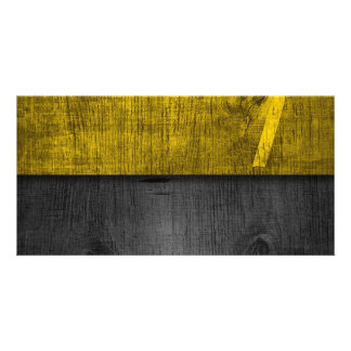 BLACK YELLOW WOOD TEXTURE stripes digital Picture Card
