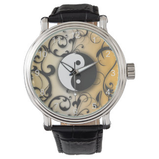 Black Yin & Yang on Bronze background Watch