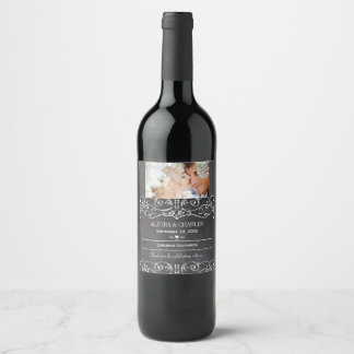 Black Your Photo Date Names Wedding Wine Label