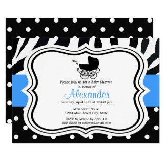 Black zebra polka dot boy baby shower invitations