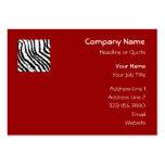 Black Zebra Print Pattern on Deep Red. Business Cards