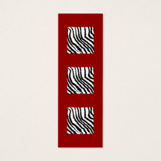Black Zebra Print Pattern on Deep Red. Mini Business Card