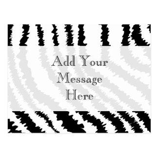 Black Zebra Print Pattern. Postcard