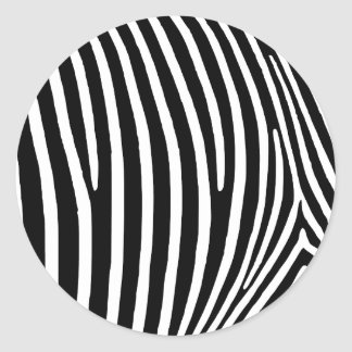 Black Zebra Stripes Classic Round Sticker