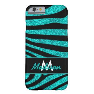 Black Zebra Stripes Name Teal Glitter Barely There iPhone 6 Case