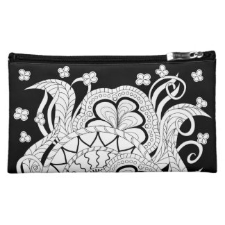 black zen pattern with sends them and flowers cosmetic bag