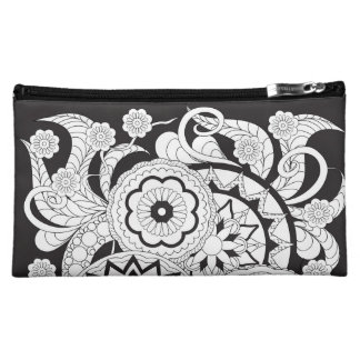 black zen pattern with sends them and flowers makeup bag
