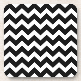 Black zig zag Party wrap edition Beverage Coasters