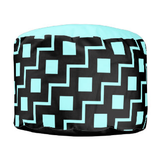 Black ZigZag on Aqua, bold pattern! Pouf