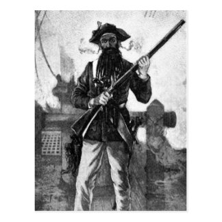 Blackbeard at attention with rifle postcard