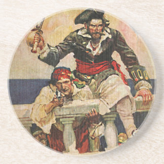 Blackbeard Buccaneer Pirate and Mate Illustration Coaster