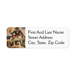Blackbeard Buccaneer Pirate and Mate Illustration Return Address Label