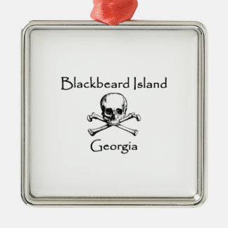 Blackbeard Island Georgia Jolly Roger Metal Ornament
