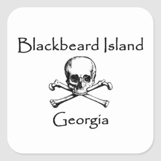 Blackbeard Island Georgia Jolly Roger Square Sticker
