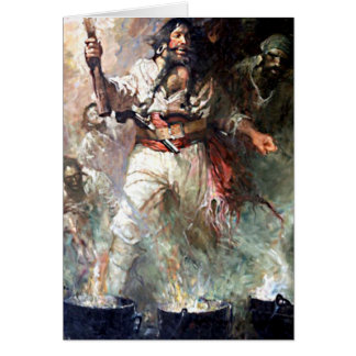 Blackbeard on Fire Pirate Illustration Card
