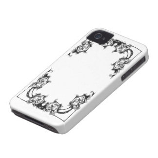 Blackberry bold case-VINTAGE FLORAL BLACK AND WHIT iPhone 4 Covers