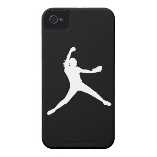 Blackberry Bold Fastpitch Silhouette White on Blk iPhone 4 Case-Mate Case