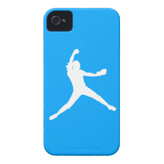 Blackberry Bold Fastpitch Silhouette White on Blue iPhone 4 Case-Mate Case