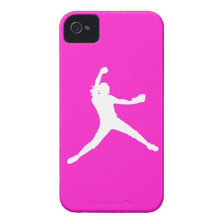 Blackberry Bold Fastpitch Silhouette White on Pink iPhone 4 Covers