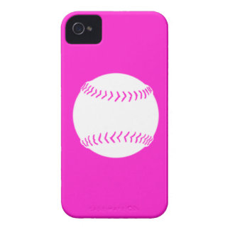 BlackBerry Bold Softball White on Pink iPhone 4 Case-Mate Case