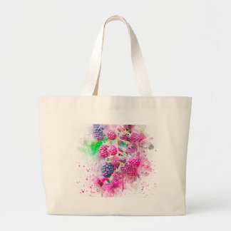 blackberry fruit art abstract large tote bag