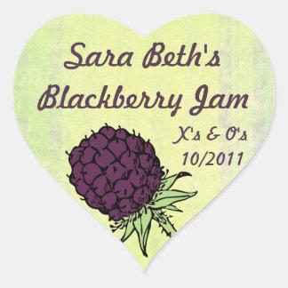 Blackberry Jam Jar Label (Customize) Heart Sticker