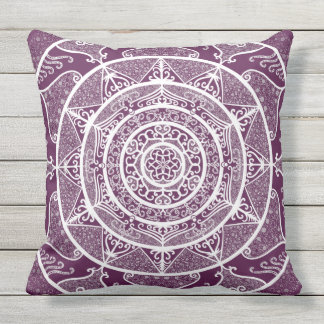 Blackberry Mandala Outdoor Pillow