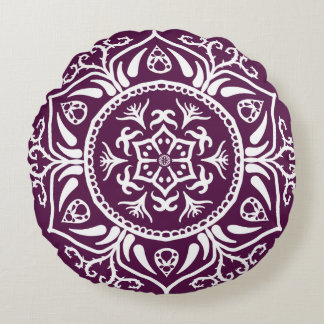 Blackberry Mandala Round Pillow