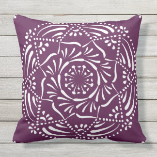 Blackberry Mandala Throw Pillow