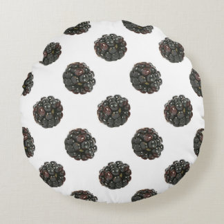 Blackberry. Polka dots. fruits pattern. Round Pillow