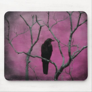 Blackbird In A Sea Of Pink Mouse Pad