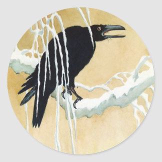 Blackbird in Snow, Ikeda Koson Classic Round Sticker