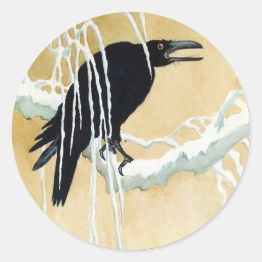 Blackbird in Snow, Ikeda Koson Stickers