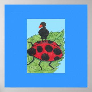 Blackbird on Ladybird's back Poster