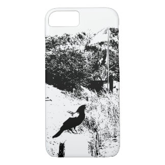Blackbird Perched on Post Outline Phone Case