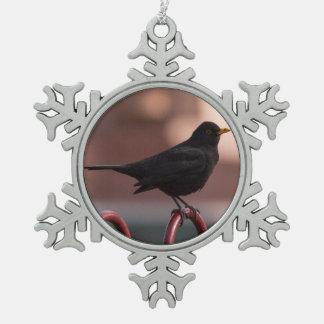 Blackbird Pewter Snowflake Ornament