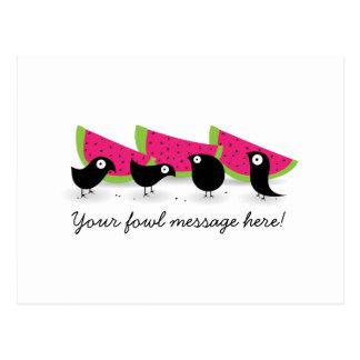 Blackbird Watermelon Picnic Postcard