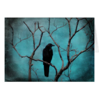 Blackbird with an aqua blue sky card