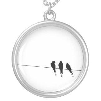 Blackbirds Silhouette on Wire Round Pendant Necklace