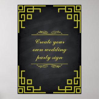 Blackboard Swirl Green Border Wedding Party Sign Poster