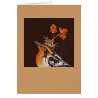 blackburnian warbler  with pyracantha card