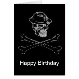 Blackened Skull and Crossbones Birthday Card