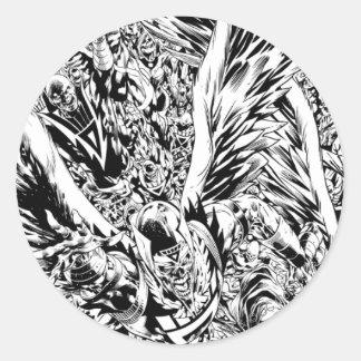 Blackest Night Group Painting - Black and White Round Sticker