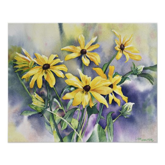 Blackeyed Susan Watercolor Painting Poster