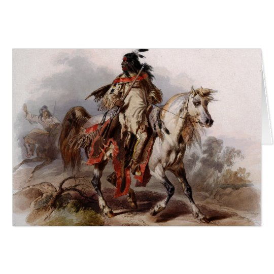Blackfoot Indian On Arabian Horse being chased Card