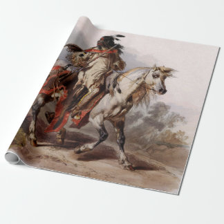 Blackfoot Indian On Arabian Horse being chased Wrapping Paper