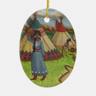Blackfoot Indians Ceramic Oval Ornament